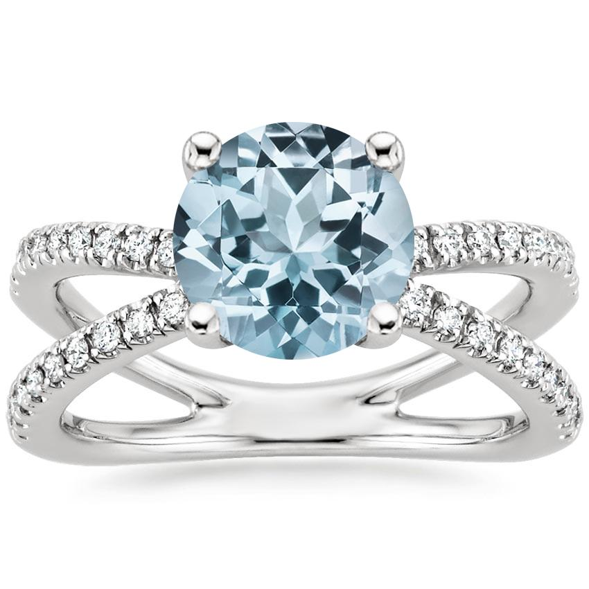 Aquamarine Bisou Diamond Ring (1/3 ct. tw.) in 18K White Gold