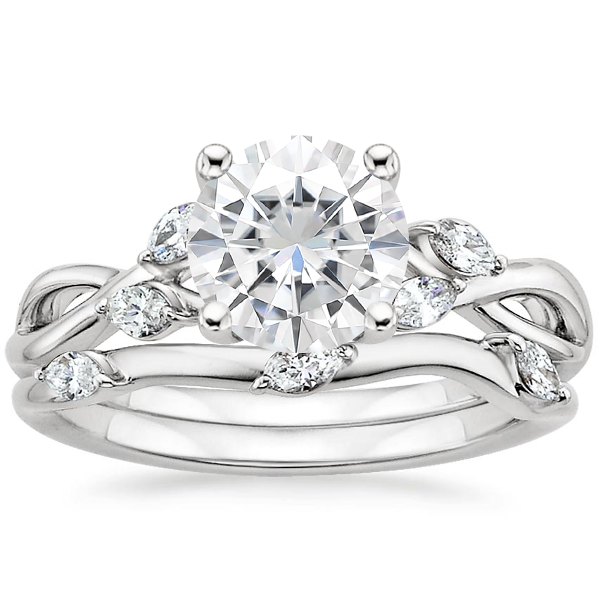 18KW Moissanite Willow Bridal Set (1/4 ct. tw.), top view