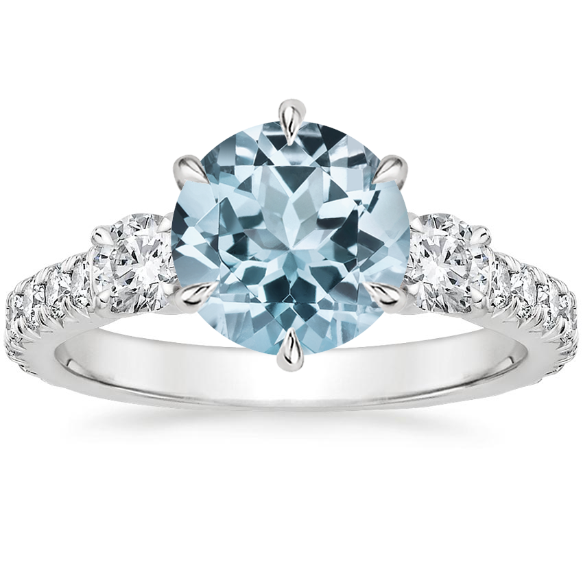 Aquamarine Gramercy Diamond Ring (3/4 ct. tw.) in 18K White Gold