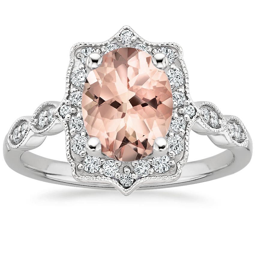 Morganite Cadenza Halo Diamond Ring in 18K White Gold