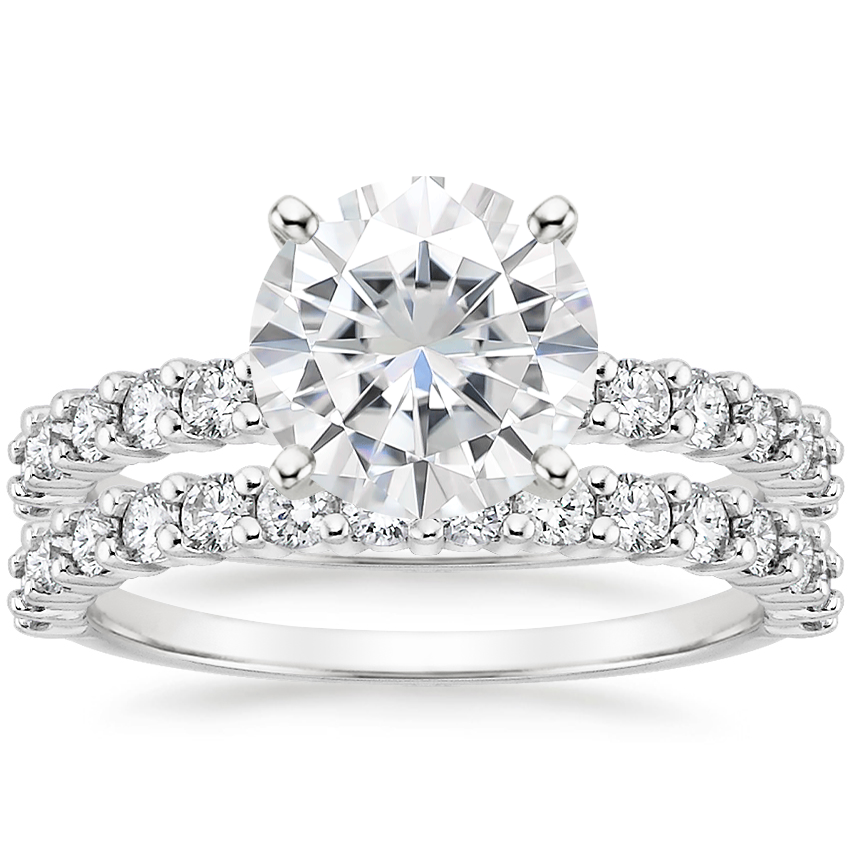 18KW Moissanite Shared Prong Diamond Bridal Set (7/8 ct. tw.), top view