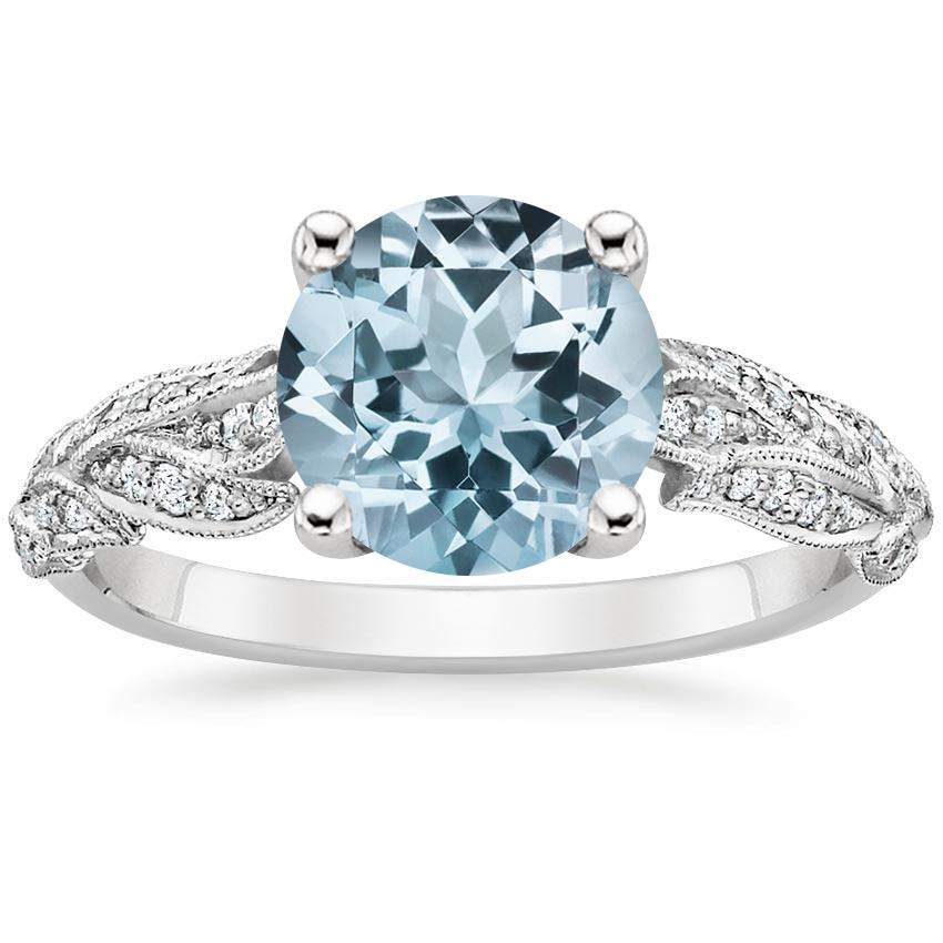 Aquamarine plume diamond ring in 18k white gold for Wedding rings aquamarine