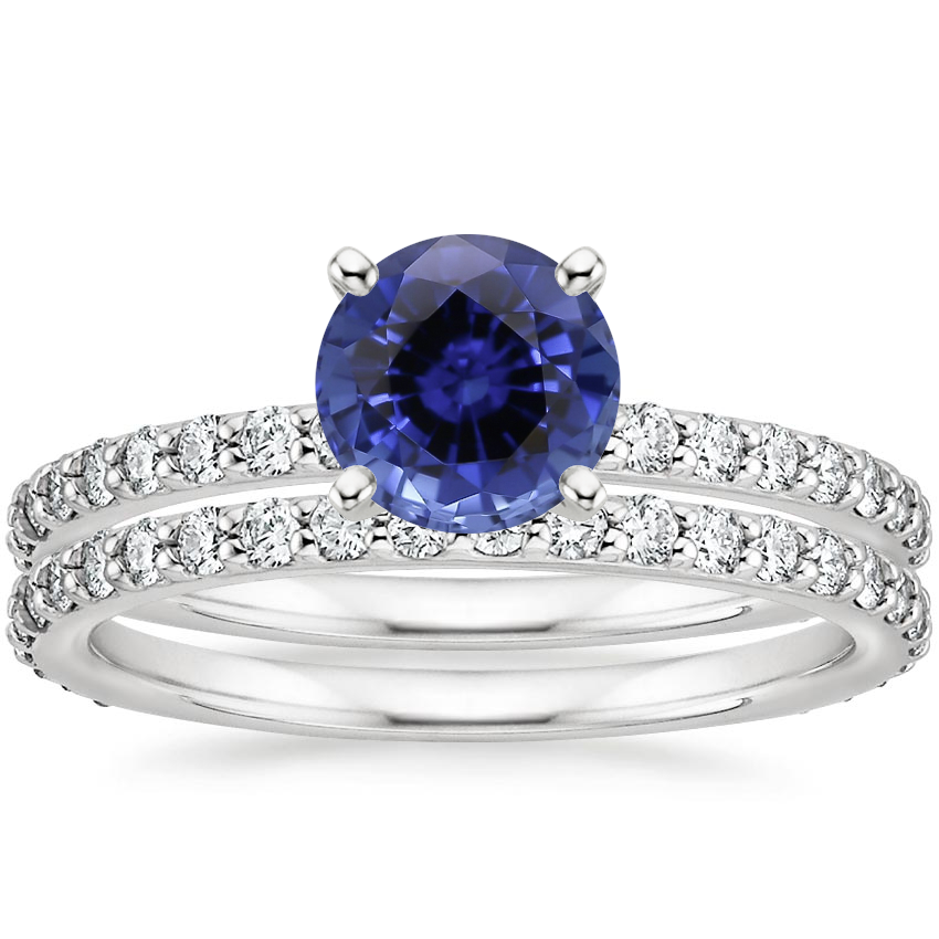 18KW Sapphire Luxe Petite Shared Prong Diamond Bridal Set (3/4 ct. tw.), top view