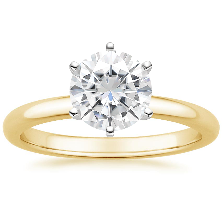 Yellow Gold Moissanite Six-Prong 2mm Comfort Fit Ring