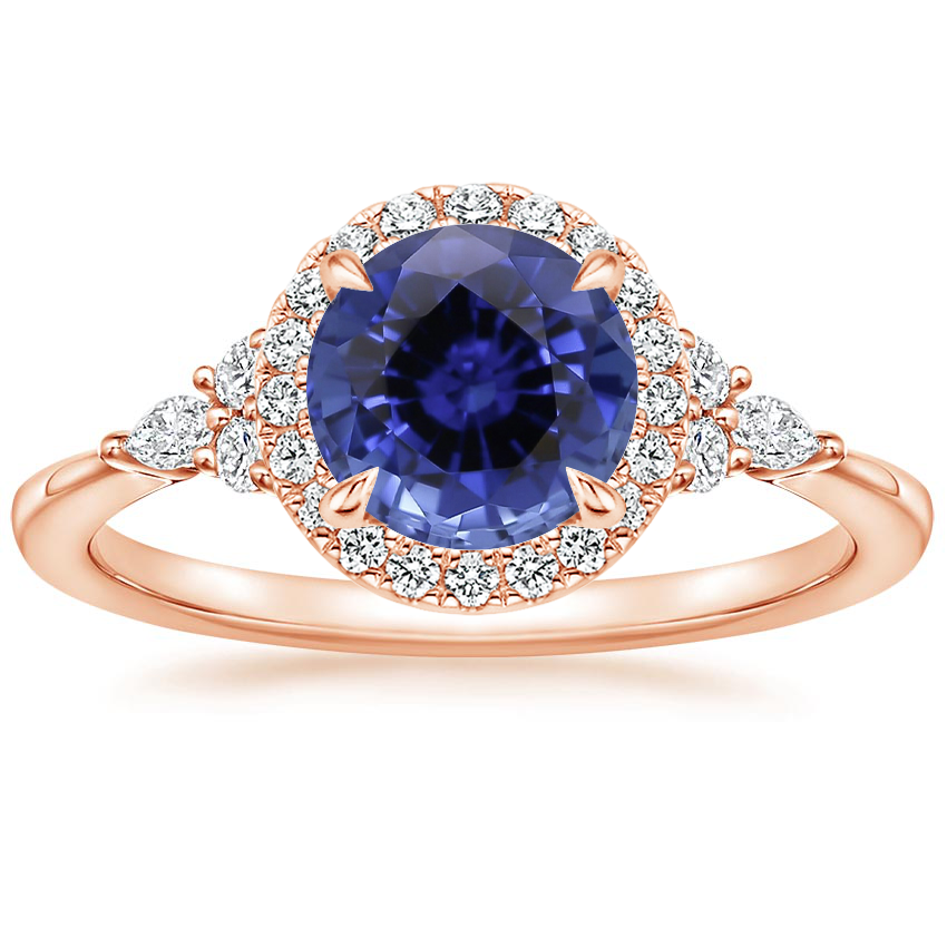Rose Gold Sapphire Nadia Halo Diamond Ring (1/4 ct. tw.)