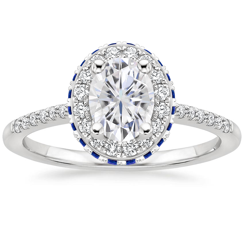 Moissanite Circa Diamond Ring with Sapphire Accents (1/4 ct. tw.) in 18K White Gold