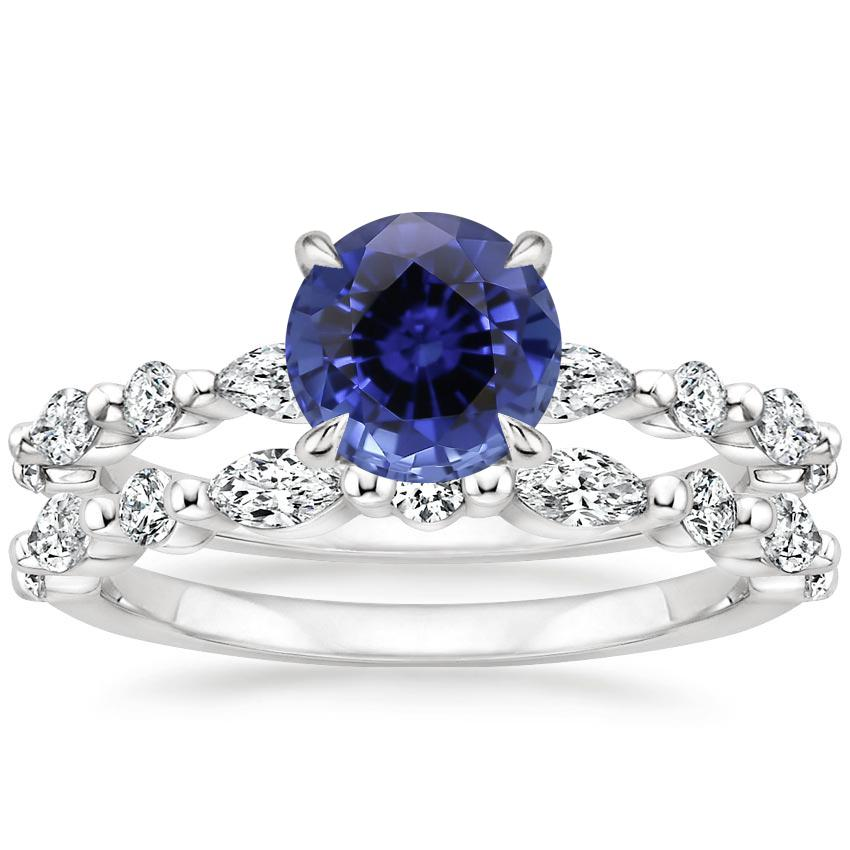 18KW Sapphire Versailles Diamond Bridal Set (3/4 ct. tw.), top view