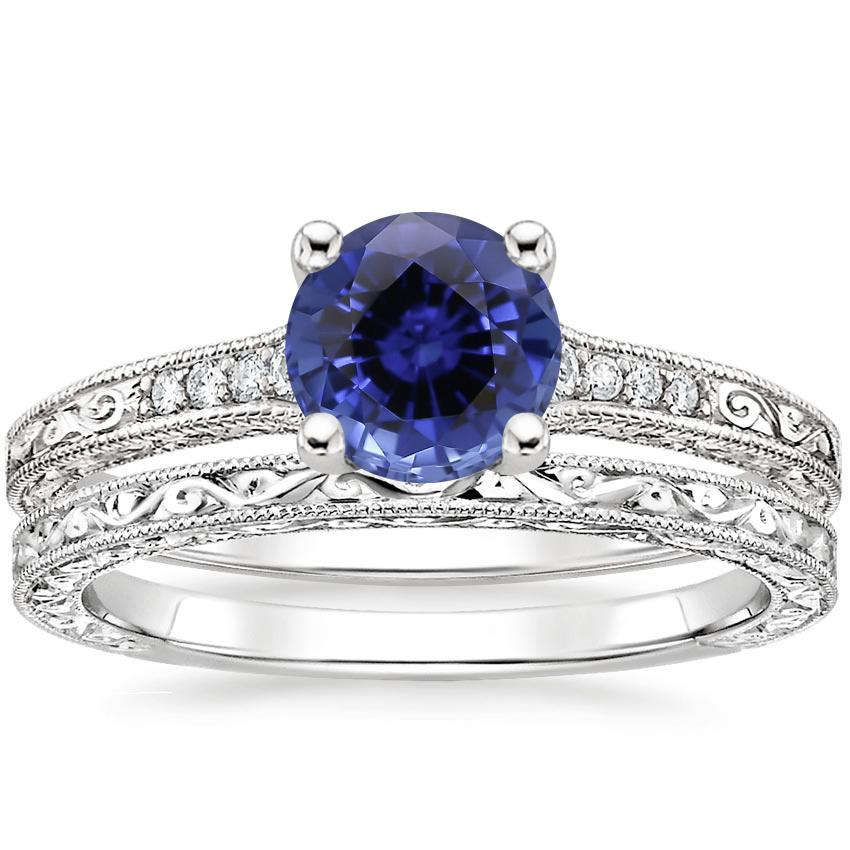 18KW Sapphire Luxe Hudson Diamond Bridal Set, top view