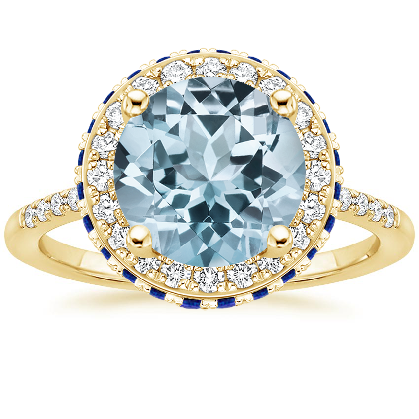 Yellow Gold Aquamarine Circa Diamond Ring with Sapphire Accents (1/4 ct. tw.)