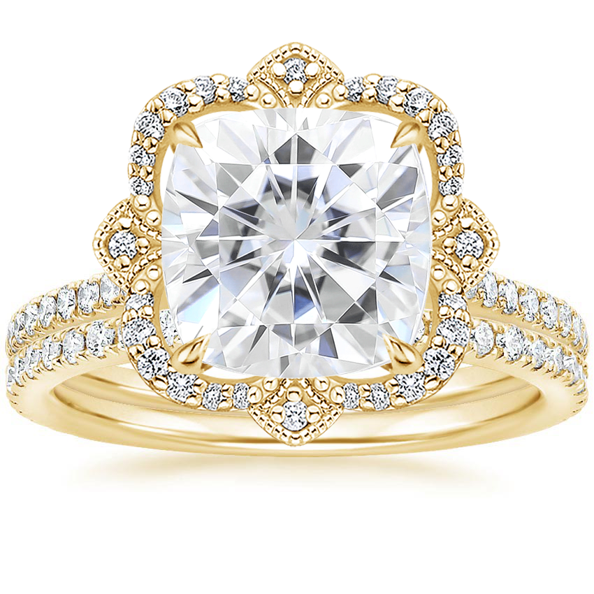 18KY Moissanite Reina Diamond Ring with Luxe Ballad Diamond Ring (1/4 ct. tw.), top view