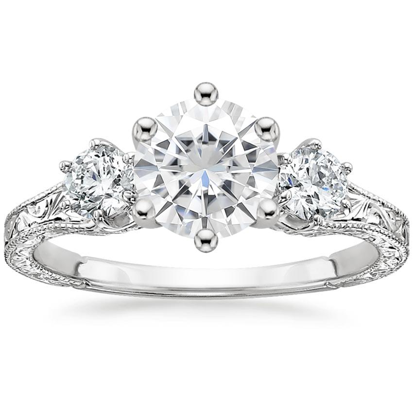 Moissanite Three Stone Hudson Diamond Ring (1/3 ct. tw.) in 18K White Gold