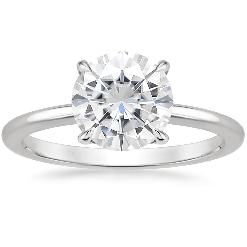 Moissanite Secret Halo Diamond Ring in 18K White Gold