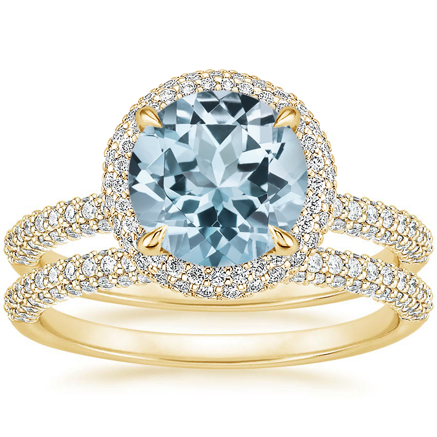 18KY Aquamarine Valencia Halo Diamond Bridal Set, top view