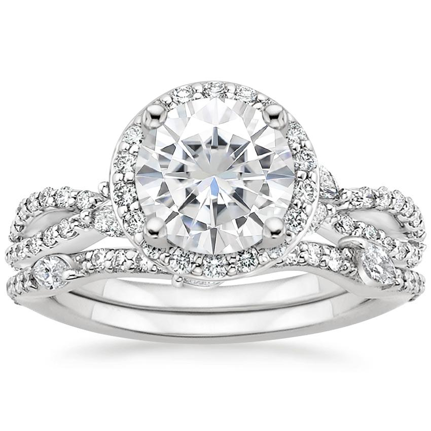 PT Moissanite Luxe Willow Halo Diamond Bridal Set (5/8 ct. tw.), top view