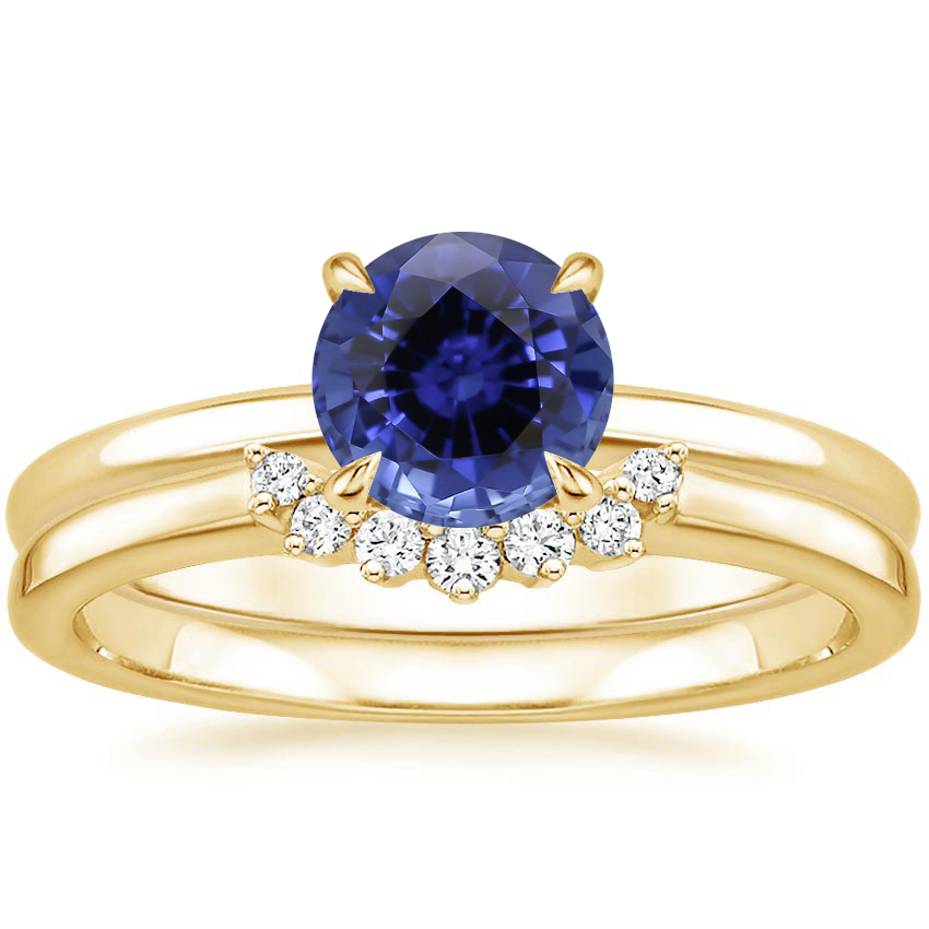 18KY Sapphire Elodie Ring with Crescent Diamond Ring, top view