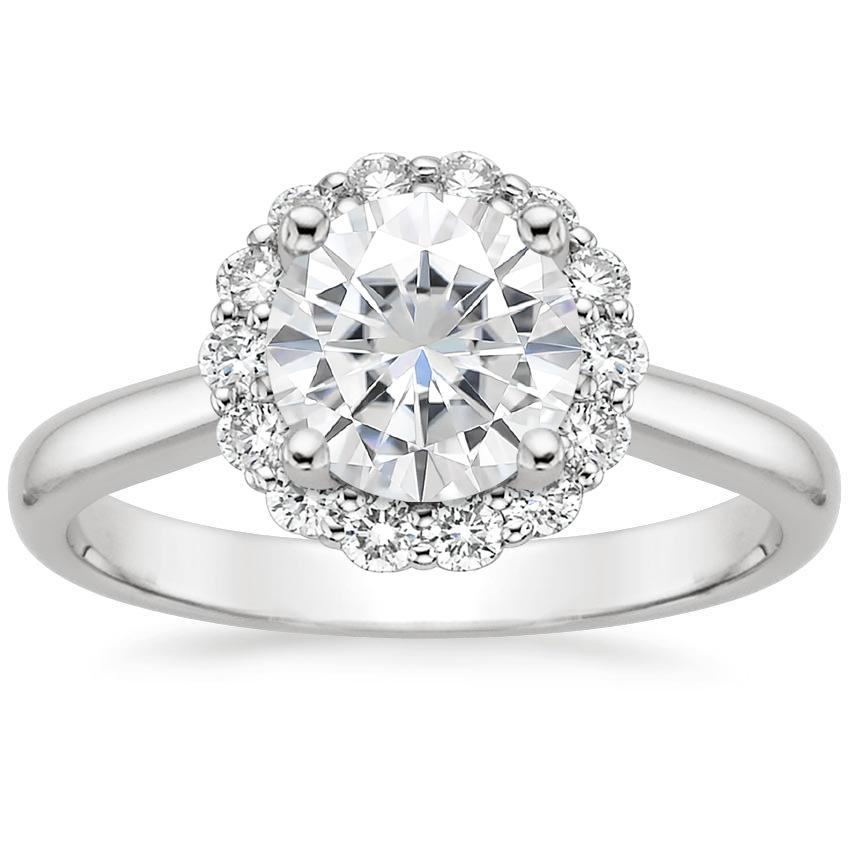Moissanite Lotus Flower Diamond Ring (1/4 ct. tw.) in 18K White Gold