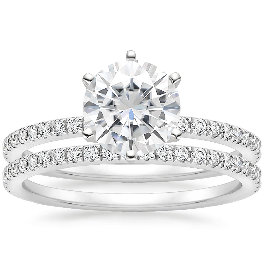 18KW Moissanite Lyric Diamond Ring with Luxe Ballad Diamond Ring (1/4 ct. tw.), top view