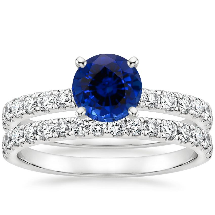 18KW Sapphire Constance Diamond Bridal Set, top view