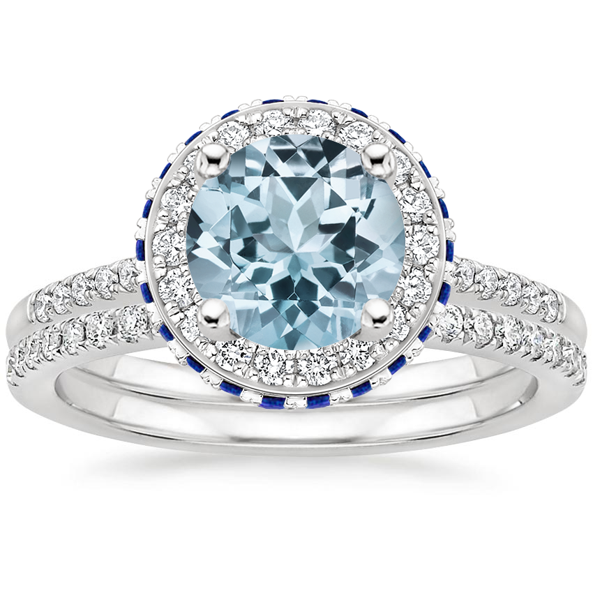 PT Aquamarine Circa Diamond Ring with Sapphire Accents with Ballad Diamond Ring (1/6 ct. tw.), top view