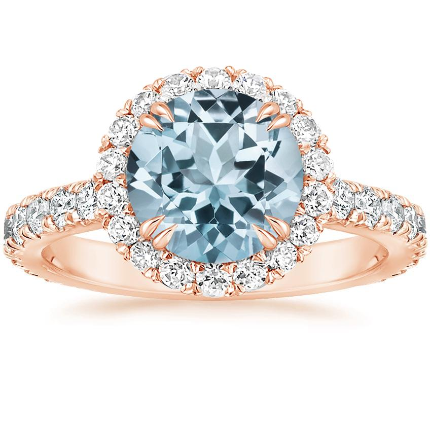 Rose Gold Aquamarine Luxe Sienna Halo Diamond Ring (3/4 ct. tw.)