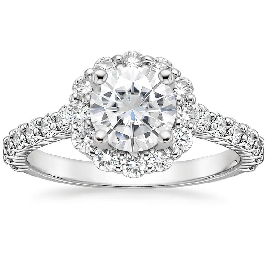 Moissanite Lotus Flower Diamond Ring with Side Stones (3/4 ct. tw.) in Platinum