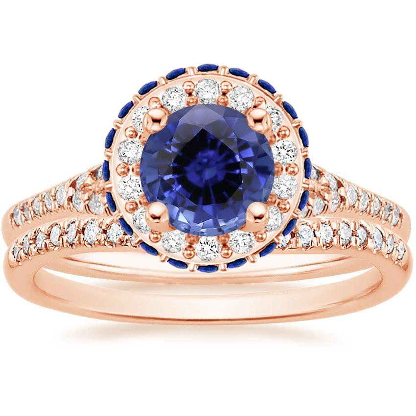 14KR Sapphire Circa Diamond Bridal Set with Sapphire Accents (1/3 ct. tw.), top view