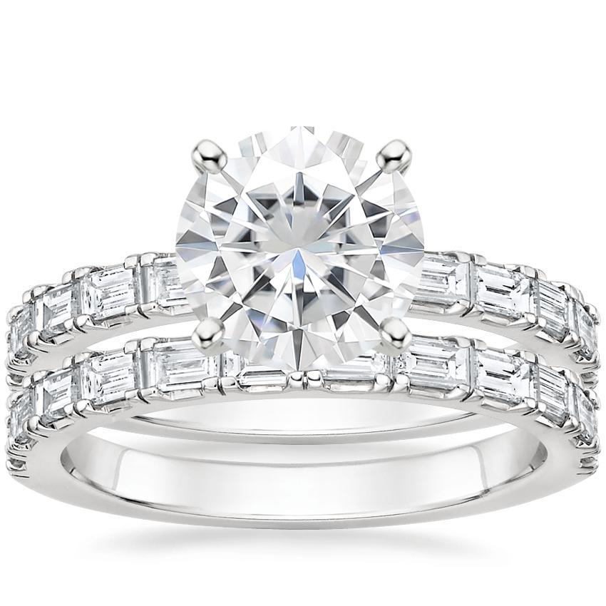 18KW Moissanite Gemma Diamond Bridal Set, top view