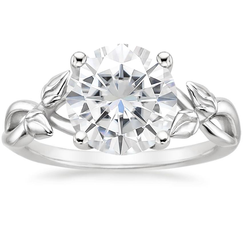 Moissanite Budding Willow Ring in 18K White Gold