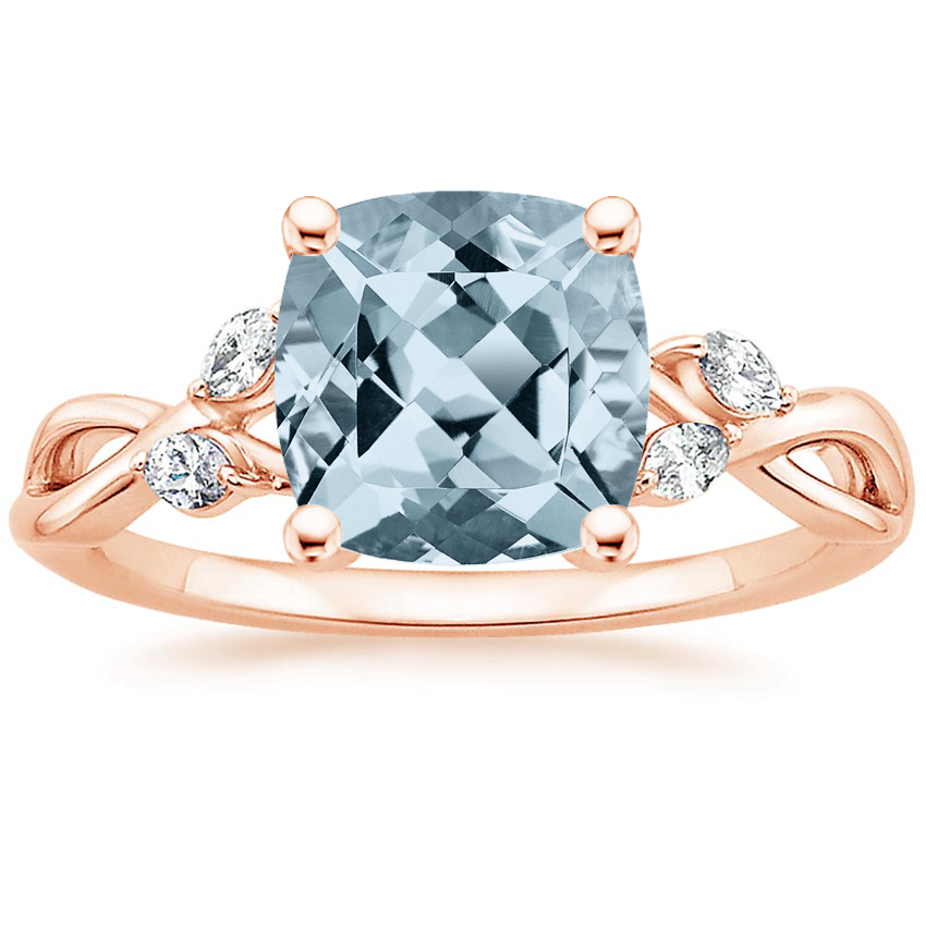 Rose Gold Aquamarine Willow Diamond Ring (1/8 ct. tw.)