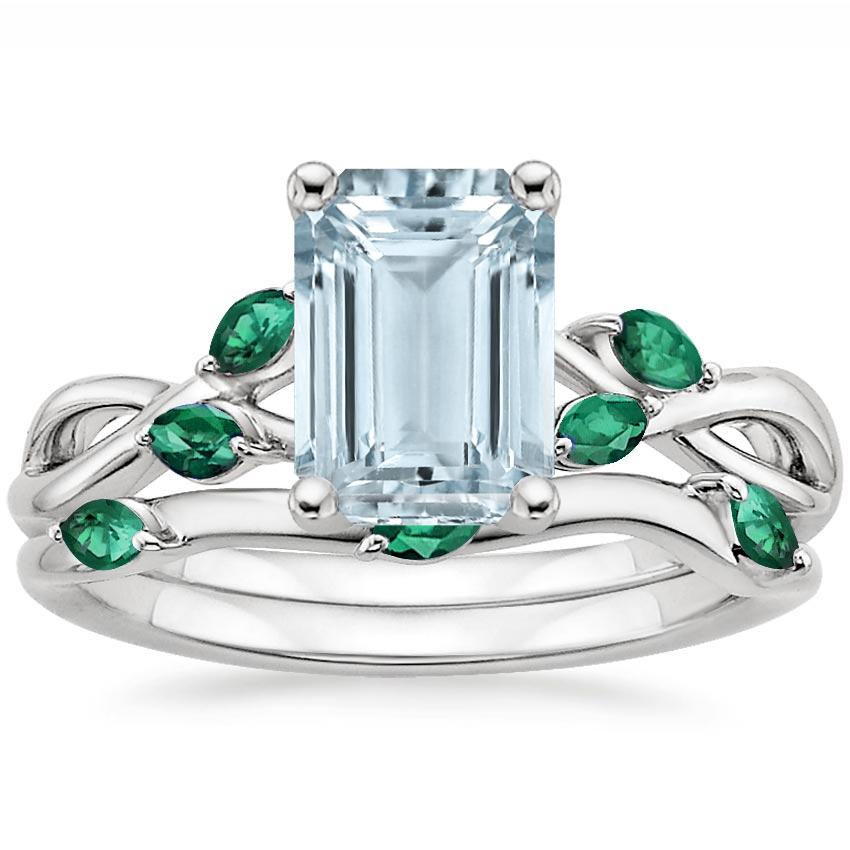 18KW Aquamarine Willow Bridal Set With Lab Emerald Accents, top view
