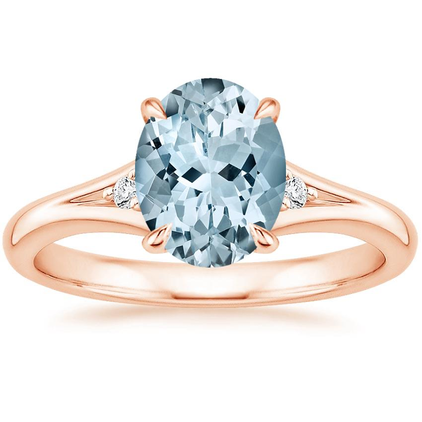Rose Gold Aquamarine Lena Diamond Ring