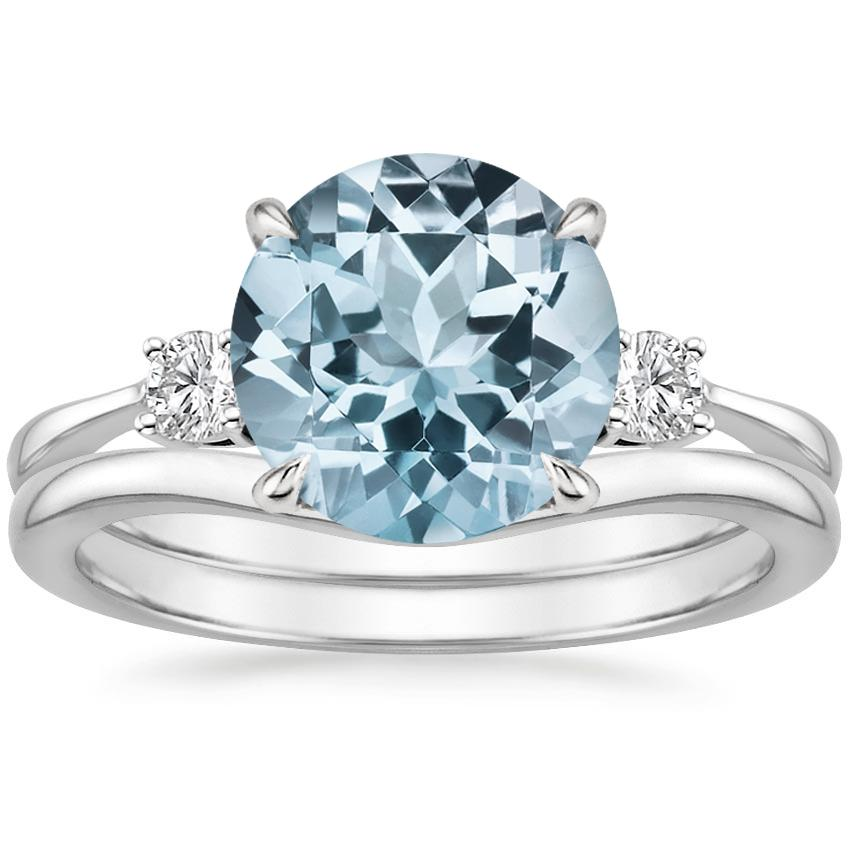 PT Aquamarine Selene Diamond Ring (1/10 ct. tw.) with Petite Curved Wedding Ring, top view