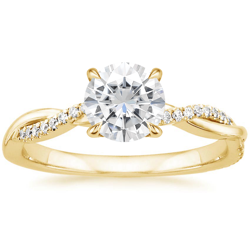 Yellow Gold Moissanite Petite Twisted Vine Diamond Ring
