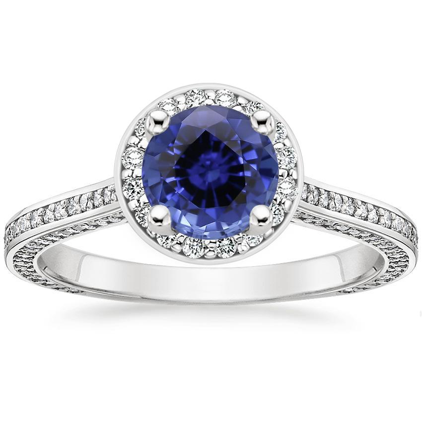 Sapphire Enchant Halo Diamond Ring in Platinum