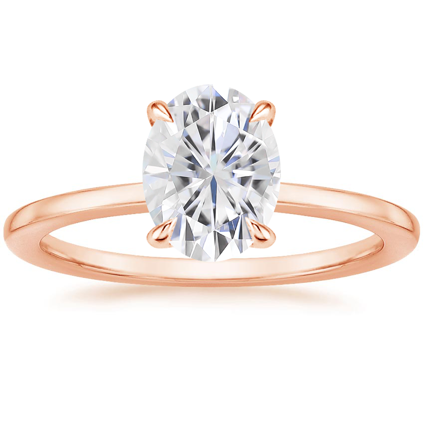 Rose Gold Moissanite Lumiere Diamond Ring
