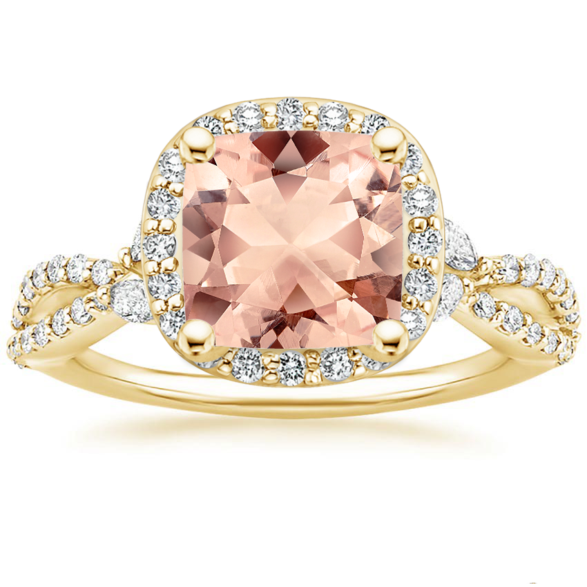 Yellow Gold Morganite Luxe Willow Halo Diamond Ring (2/5 ct. tw.)