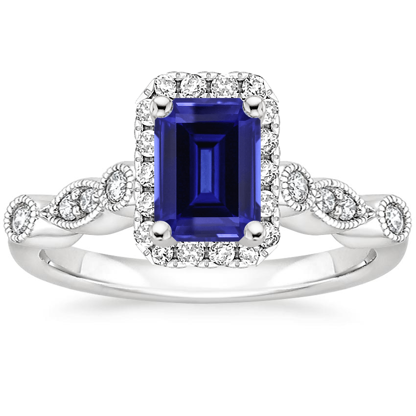 Sapphire Tiara Halo Diamond Ring (1/4 ct. tw.) in 18K White Gold