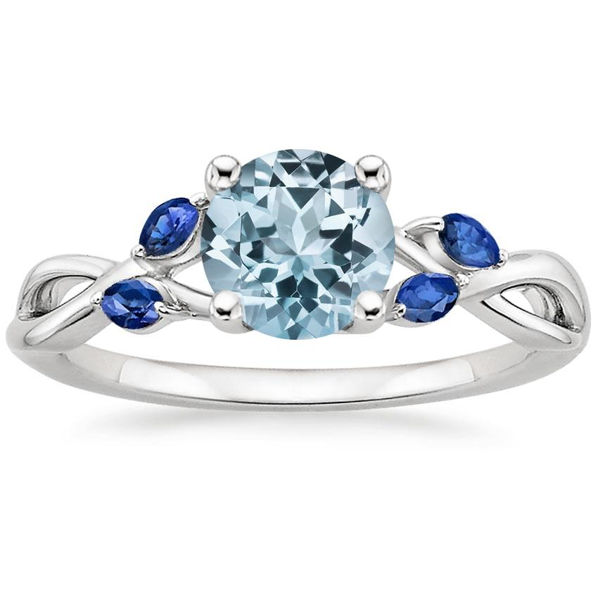 Aquamarine Willow Ring With Sapphire Accents in Platinum