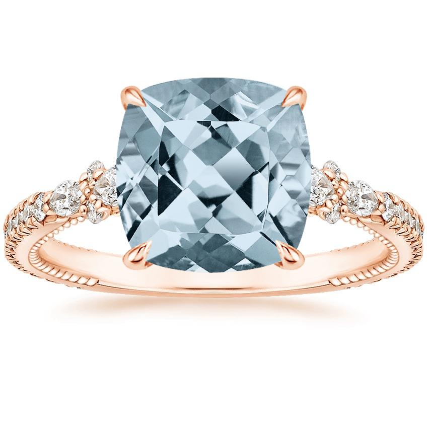 Rose Gold Aquamarine Primrose Diamond Ring