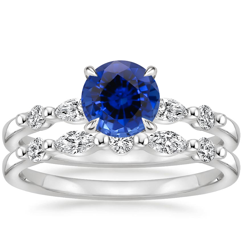 18KW Sapphire Petite Versailles Diamond Bridal Set (3/8 ct. tw.), top view