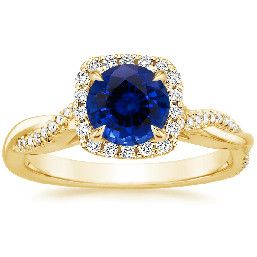 Yellow Gold Sapphire Petite Twisted Vine Halo Diamond Ring (1/4 ct. tw.)