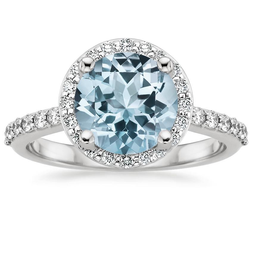 Aquamarine Halo Diamond Ring with Side Stones (1/3 ct. tw.) in 18K White Gold