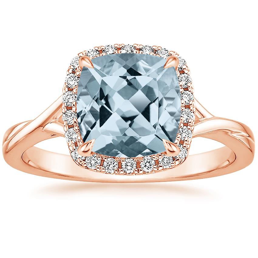 Rose Gold Aquamarine Serendipity Diamond Ring