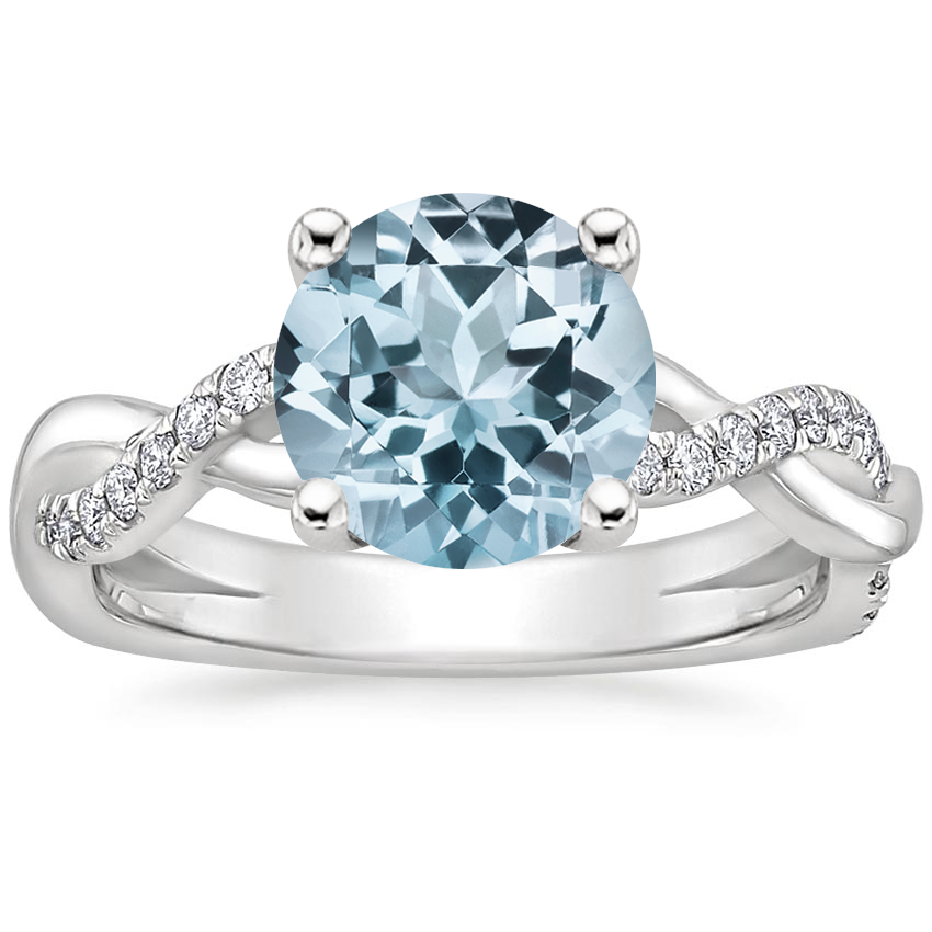 Aquamarine Braided Vine Diamond Ring (1/4 ct. tw.) in 18K White Gold