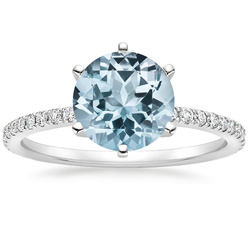 Aquamarine Lyric Diamond Ring in 18K White Gold