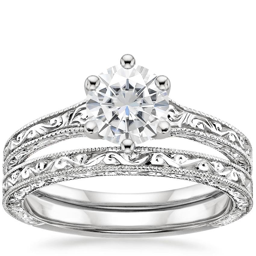 PT Moissanite Hudson Bridal Set, top view