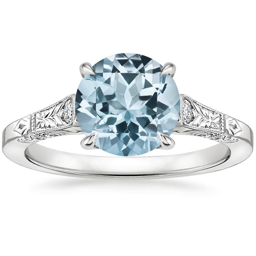 Aquamarine Valentina Diamond Ring in 18K White Gold