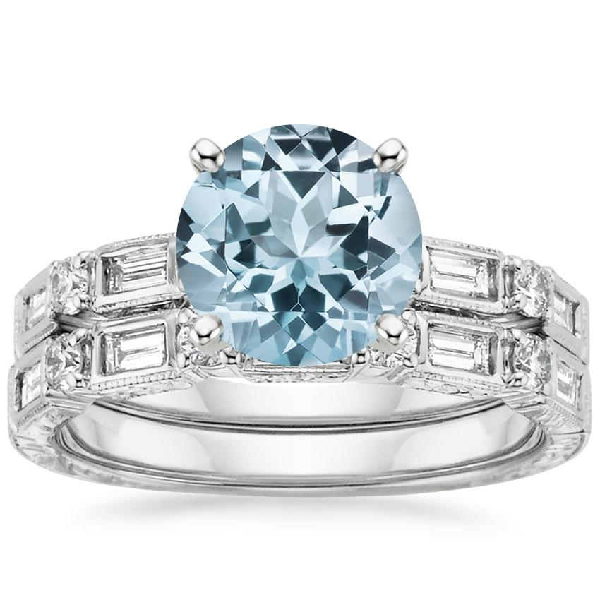18KW Aquamarine Vintage Diamond Baguette Bridal Set (1/2 ct. tw.), top view
