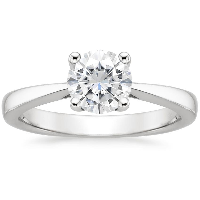 Moissanite Petite Tapered Trellis Ring in 18K White Gold