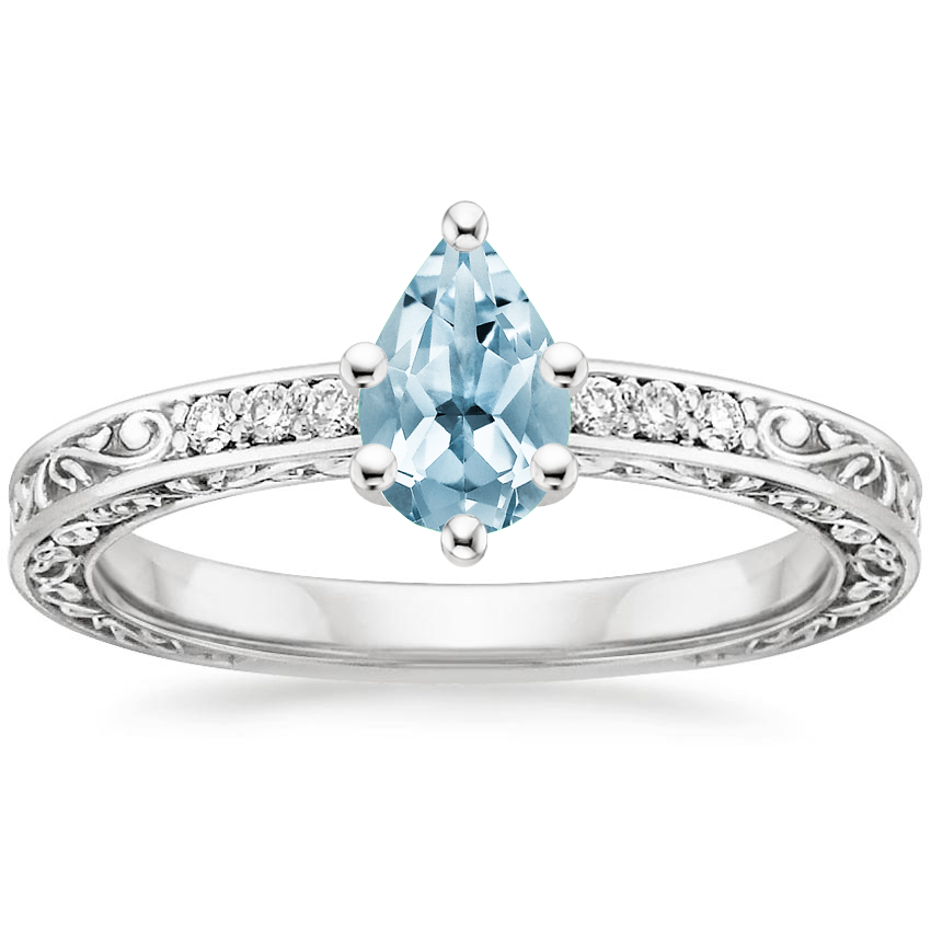 Aquamarine Delicate Antique Scroll Diamond Ring in Platinum